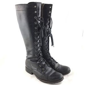 Knee high boots black leather Melissa Tall Lace